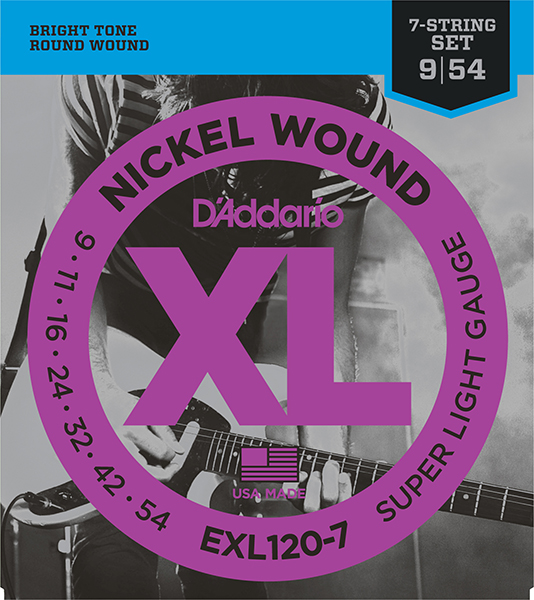EXL120-7 XL NICKEL WOUND Струны для 7-струнной электрогитары Super Light 7-String 9-52 D`Addario
