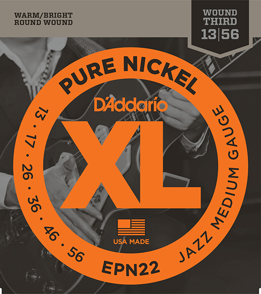 EPN22 XL Pure Nickel Комплект струн для электрогитары, никель, Jazz Medium, 13-56, D'Addario