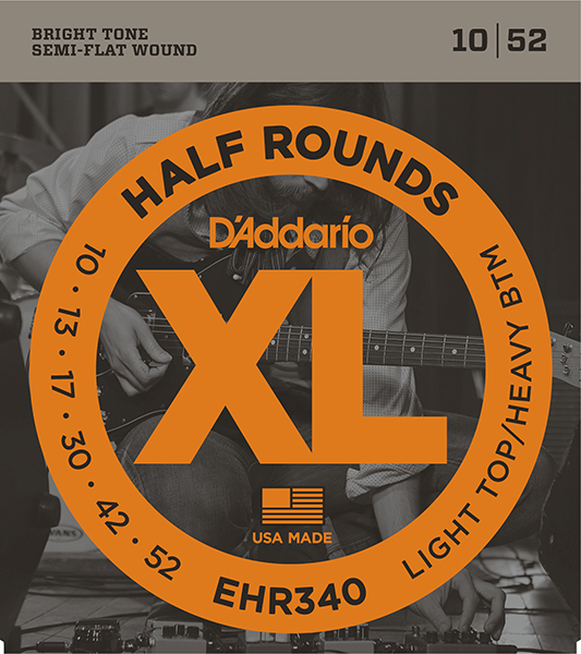 EHR340 Half Round Комплект струн для электрогитары, Light Top/Heavy Bottom, 10-52, D'Addario